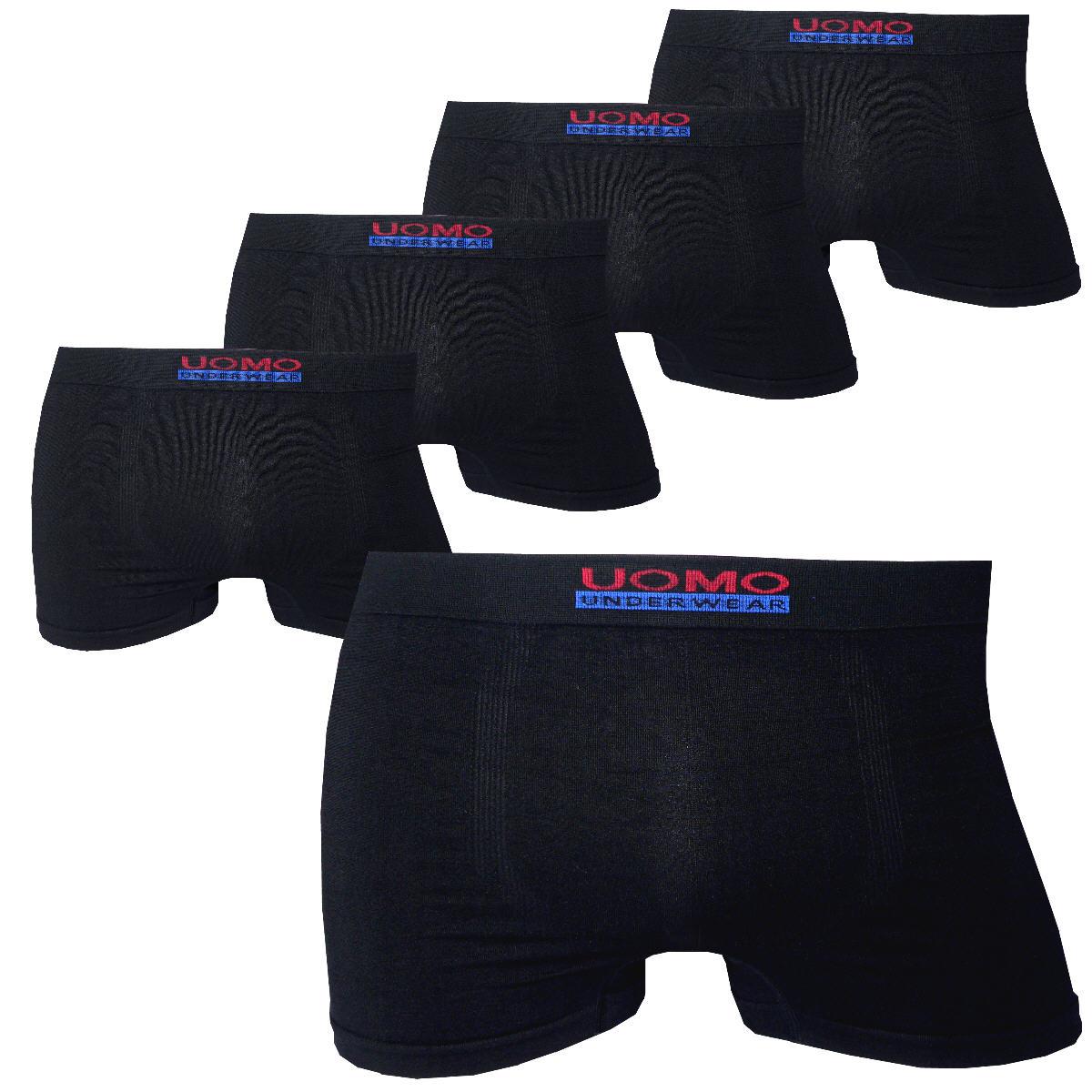 Herren-Retroshorts-UOMO-5er-Pack-Seamless-Mikrofaser-grell-dezent-oder-schwarz